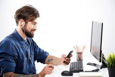 Handsome freelance worker