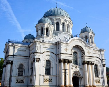 KAUNAS LITHUANIA SEPTEMBER 19 2015: St. Michael the Archangel's Church or the Garrison Church is a Roman Catholic church  in Neo-Byzantine style largely for the use of the Russian Orthodox garrison