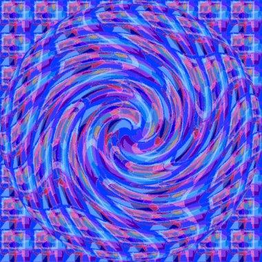 Blue psychedelic spiral fractal pattern background