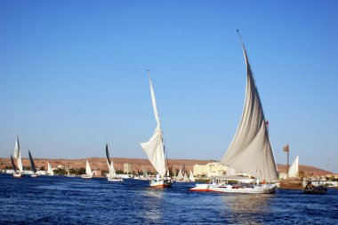 ASWAN EGYPT - 11 25 08: Felucca sails on the Nile river near Aswan, Egypt.The feluccas seen today were invented in 3350 BC are still in active transport in Nile-adjacent cities like Aswan or Luxor