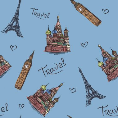 Travels. Vector illustration with images of sights of Moscow, Lo