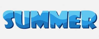Summer. The letters are stylized as a blue wave. Vector inscript