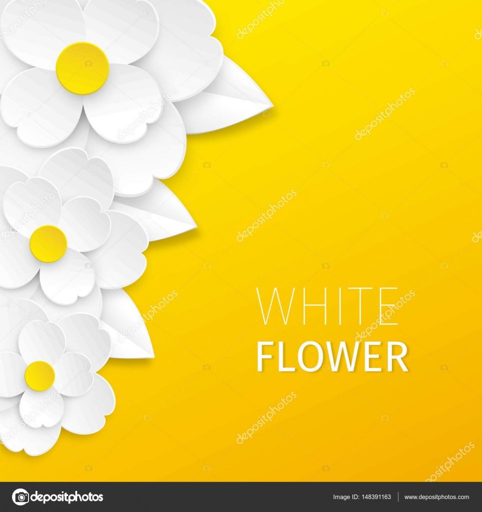 Three White Cutout Paper Flowers On Bright Yellow Background Vector