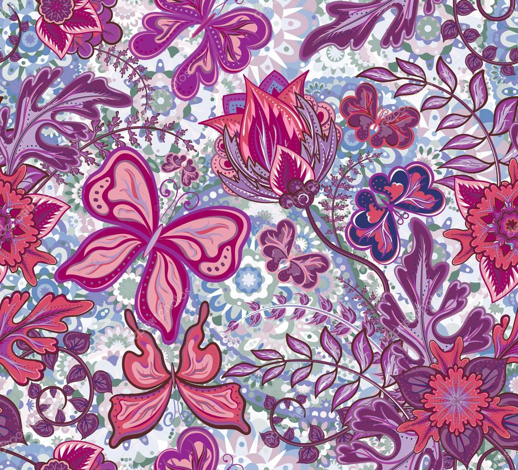 Nahtlose Blumenmuster Mit Fantasie Blumen Und Schmetterlinge Auf