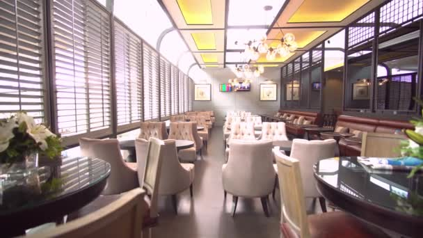 Vintage Restaurant Footage Background. Lounge Area. Retro style chairs. Day light. Panorama.