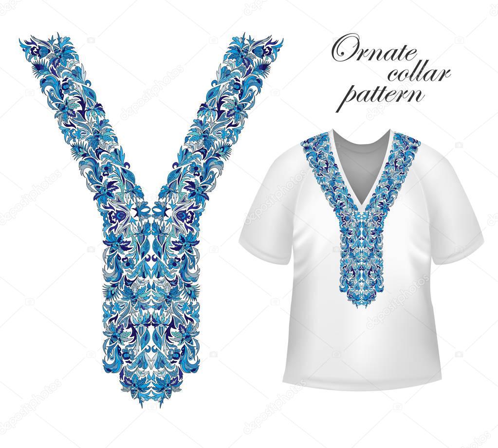 Hemd, Jacke und T-shirt-Kragen-Muster. Embriodery Ornament. Vektor ...