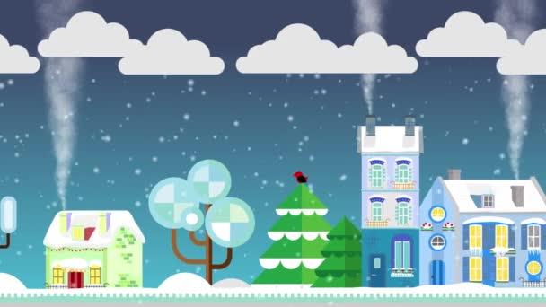 Weihnachtshäuser auf schneebedeckter Straße im Hintergrund der Winternacht. flachen Stil. Häuschen. Frohe Weihnachten