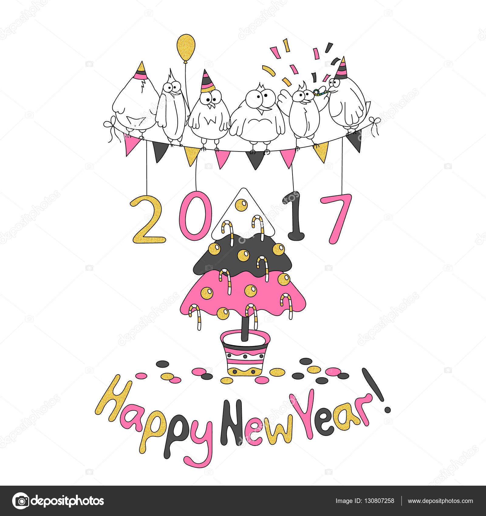 Happy New Year greeting card with cartoon funny birds. — Stock ...