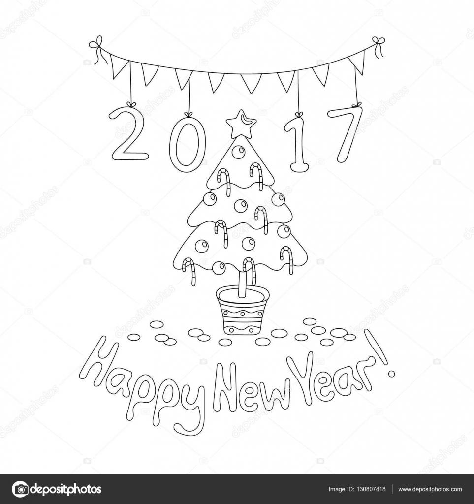 Mutlu Yeni Yıl Tebrik Kartı Ladin Ile Boyama Kitabı Sayfası Stok