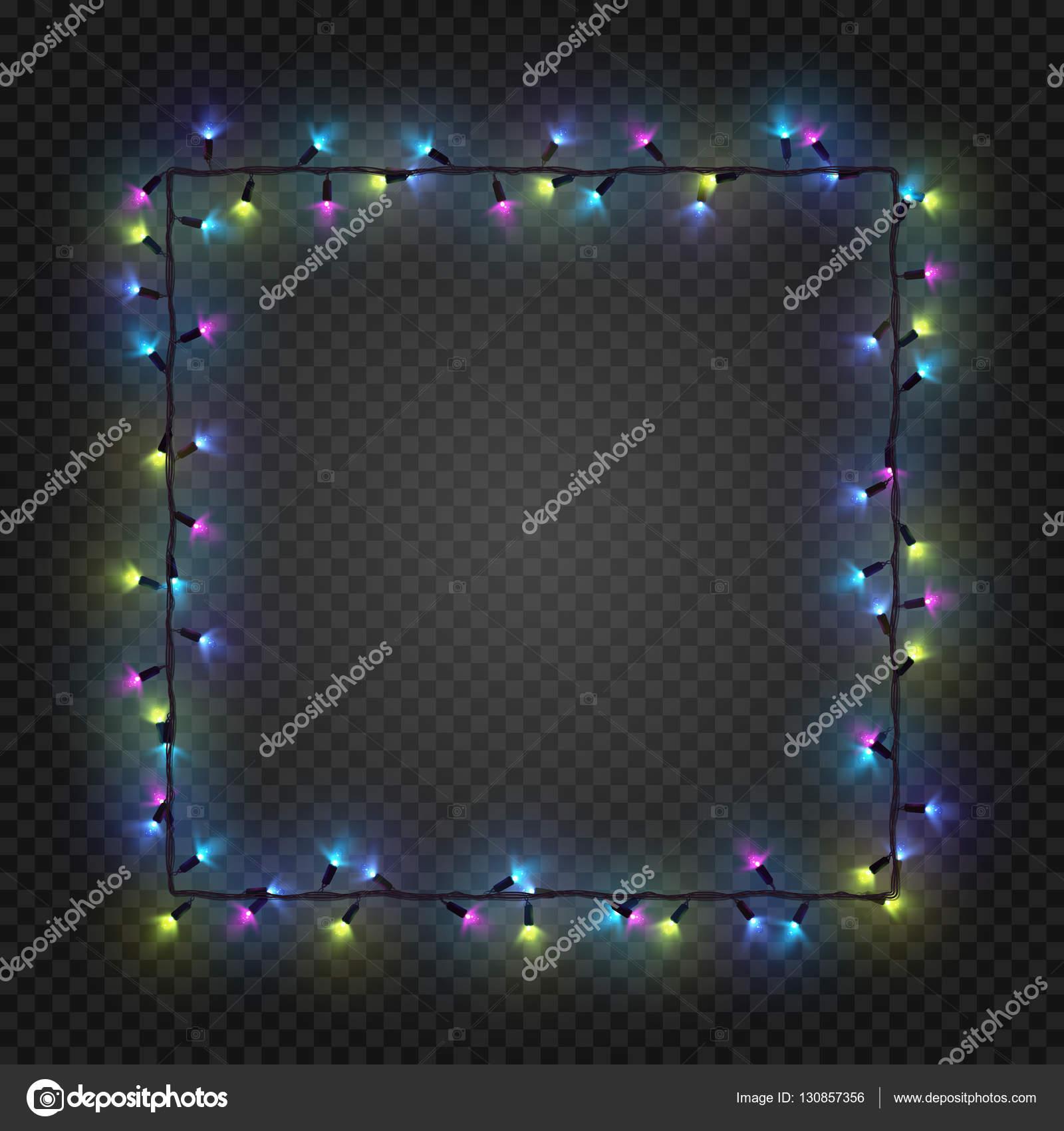 Vektor-Weihnachten bunten Glühbirnen, Girlande, die ein Quadrat ...