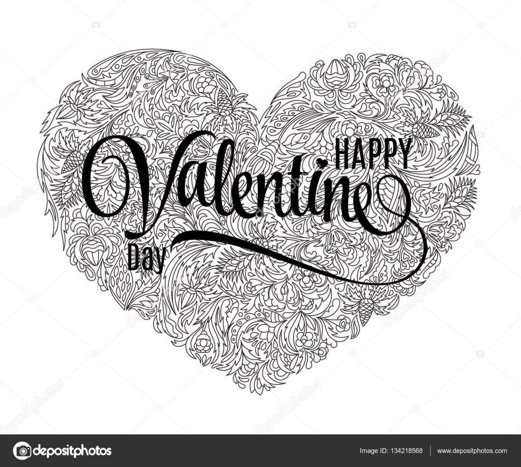Vektör Kalp şeklinde Desen Boyama Kitabı Için Doodle Tarzı çiçek
