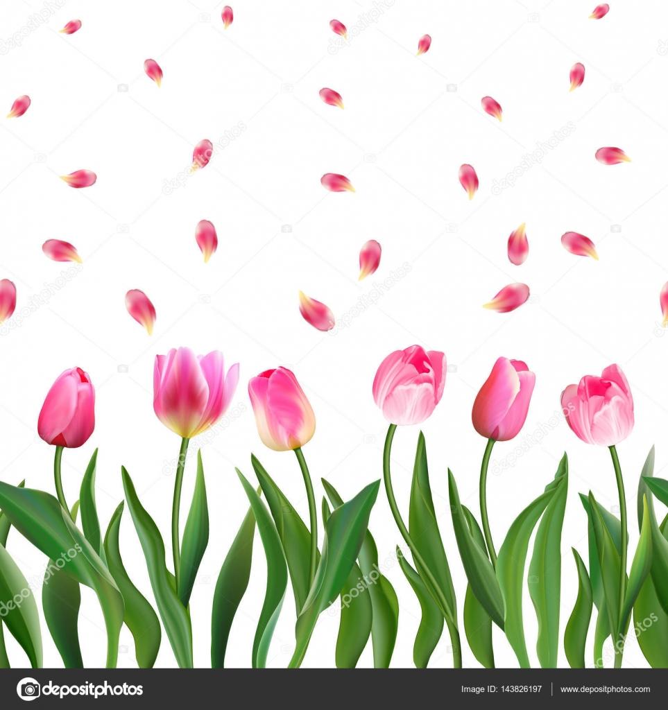 Nahtlose muster mit realistischen rosa tulpen blumen und for Ornament tapete rosa