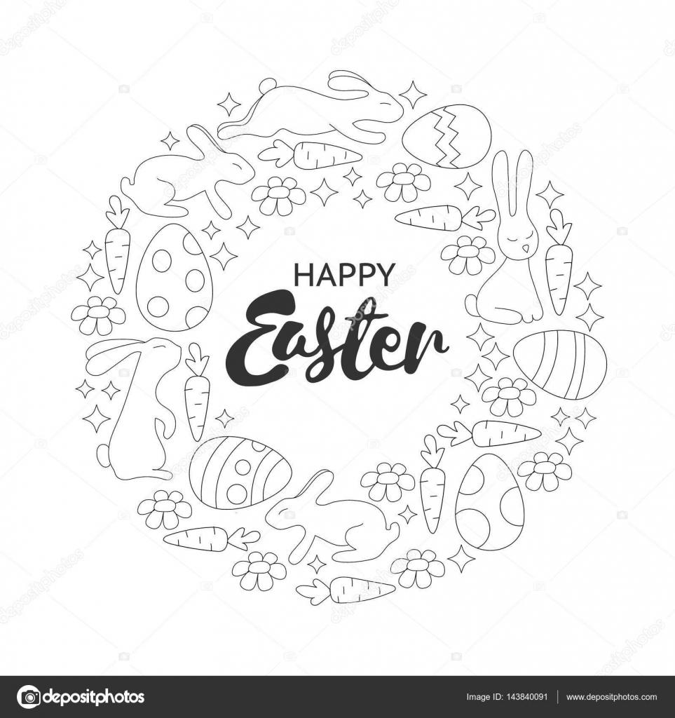 Kleurplaten Volwassenen Pasen.Boek Kleurplaat Pasen Konijnen En Eieren Krans Hand Getekend
