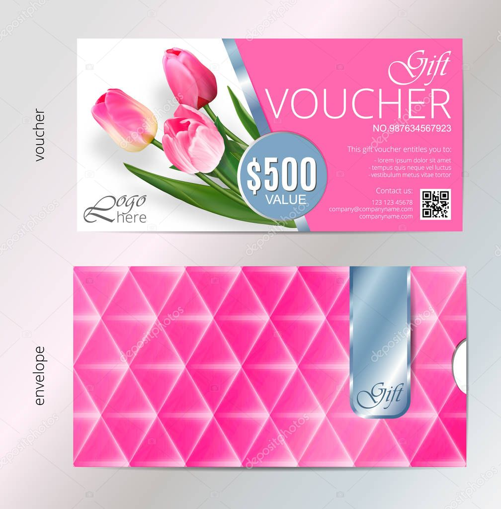 Gift voucher template with pink tulip flowers. Vector Abstract background. Concept for boutique, jewelry, floral shop, beauty salon, fashion, flyer, banner design. Gift voucher design