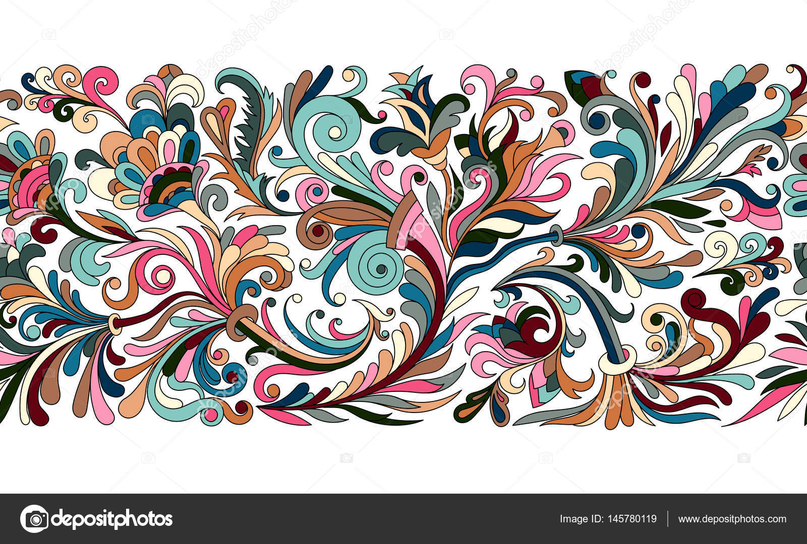 Baroque Seamless Border With Vintage Floral Ornament Vector Illustration Flower Pattern Pastel Tone Black Outline By Leezarius