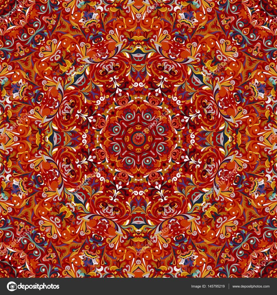 Fleurs stylisées orientales wallpaper vector abstrait sans couture rétro, décoration carrelage ...