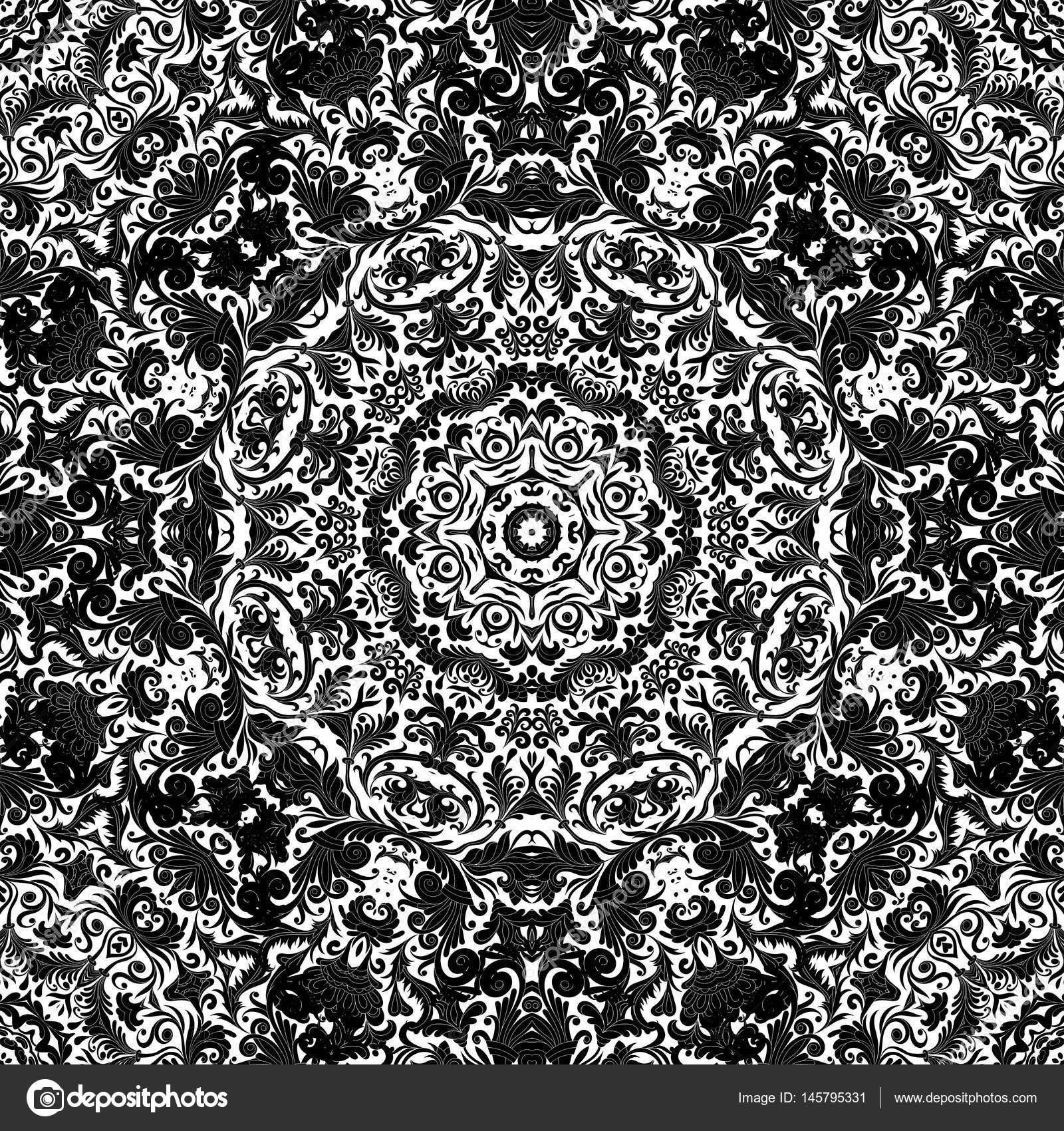 Seamless Abstract Background Vector Decoration Tile Print Oriental Tribal Floral Ornament Arabesque Pattern Black And White One Color