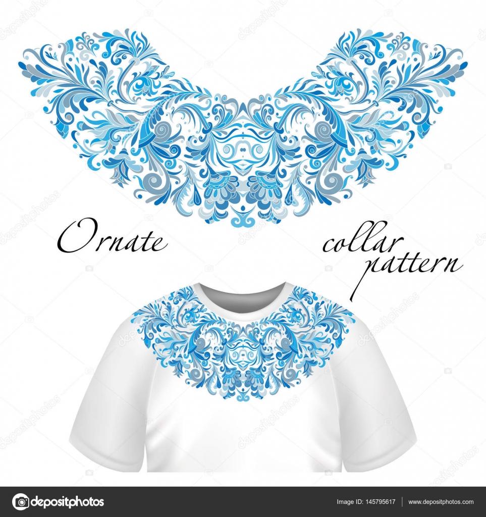 Vector diseño de collar de camisetas y blusas. Escote de flores de colores  étnicos. ae8968caa2927