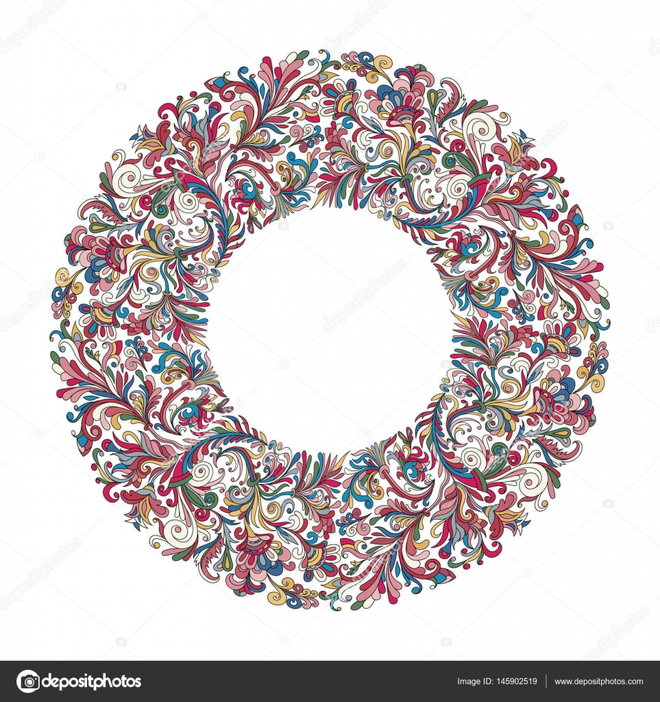 Marco de círculo de Vector, diseño de corona formada doodle flores ...