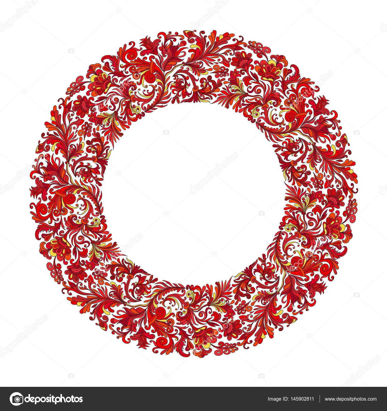 de círculo de Vector, diseño de corona formada doodle flores ...
