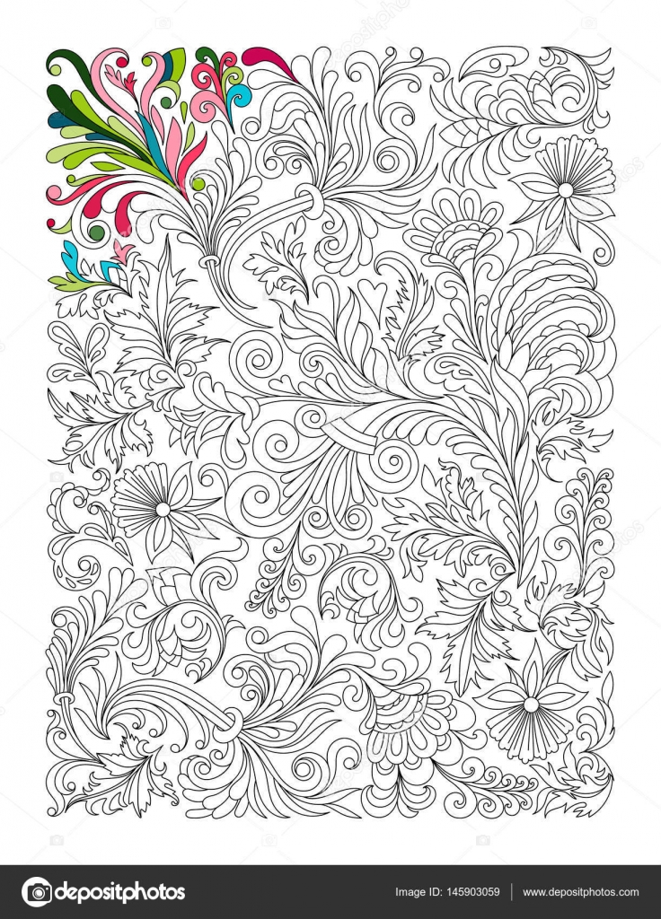 Doodle Floral Pattern In Black And White Page For Coloring Book Very Interesting Relaxing Job Children Adults Zentangle Drawing