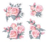 Fotografia Insieme di vettore dei mazzi di fiori con le rose. Qualità dellacquerello imitazione delle Rose dentellare fragili. Può essere utilizzato come biglietto di auguri, carta di invito per matrimonio, compleanno e altre vacanze ed estate sfondo