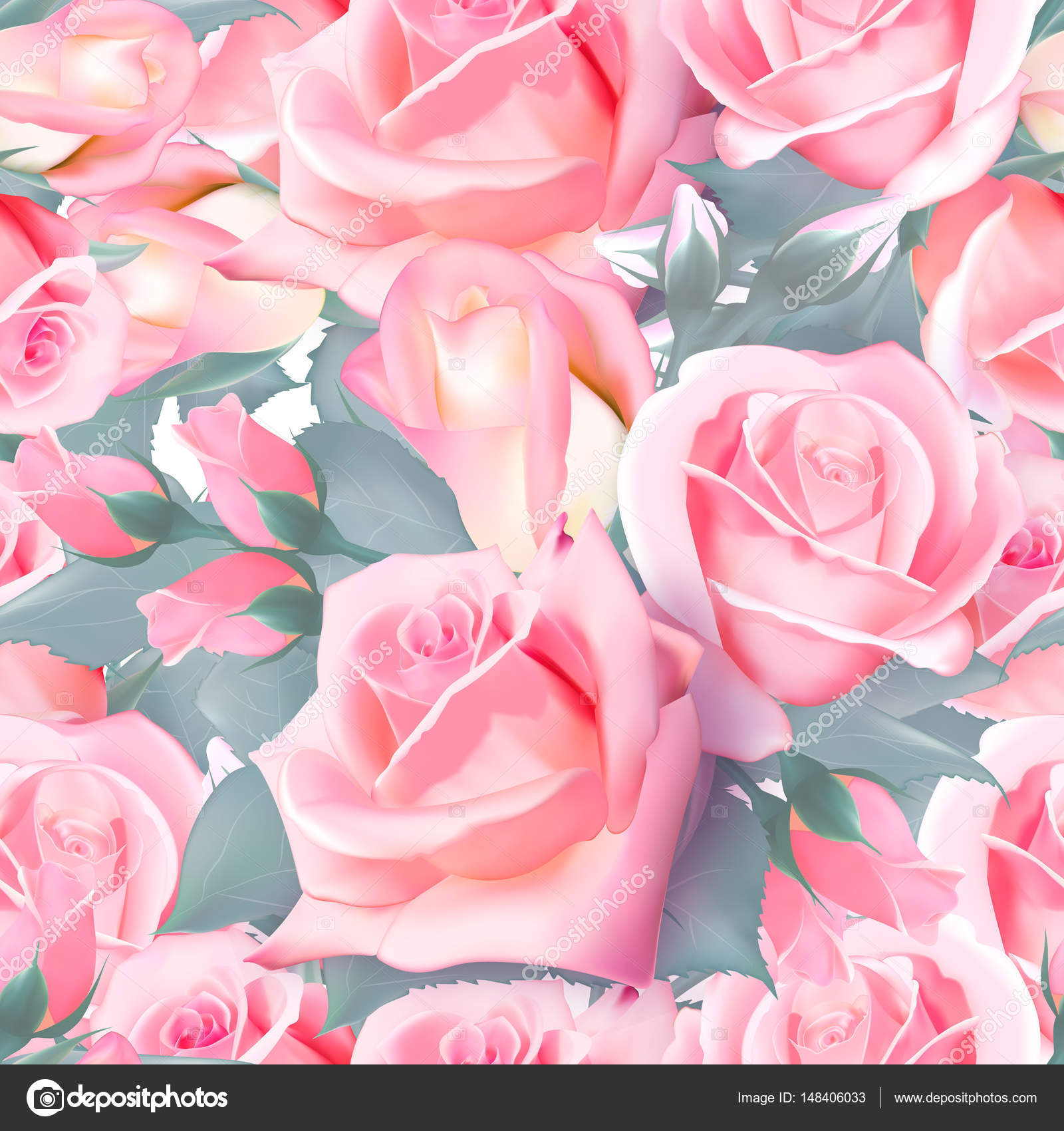 Roses Wallpaper Seamless Pattern Pink Rose Dense Vector Illustration By Leezarius