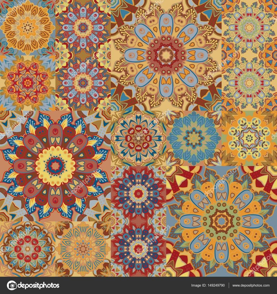 Tapete Orientalisches Muster boho tile set und nahtlose muster braun patchwork für print stoff