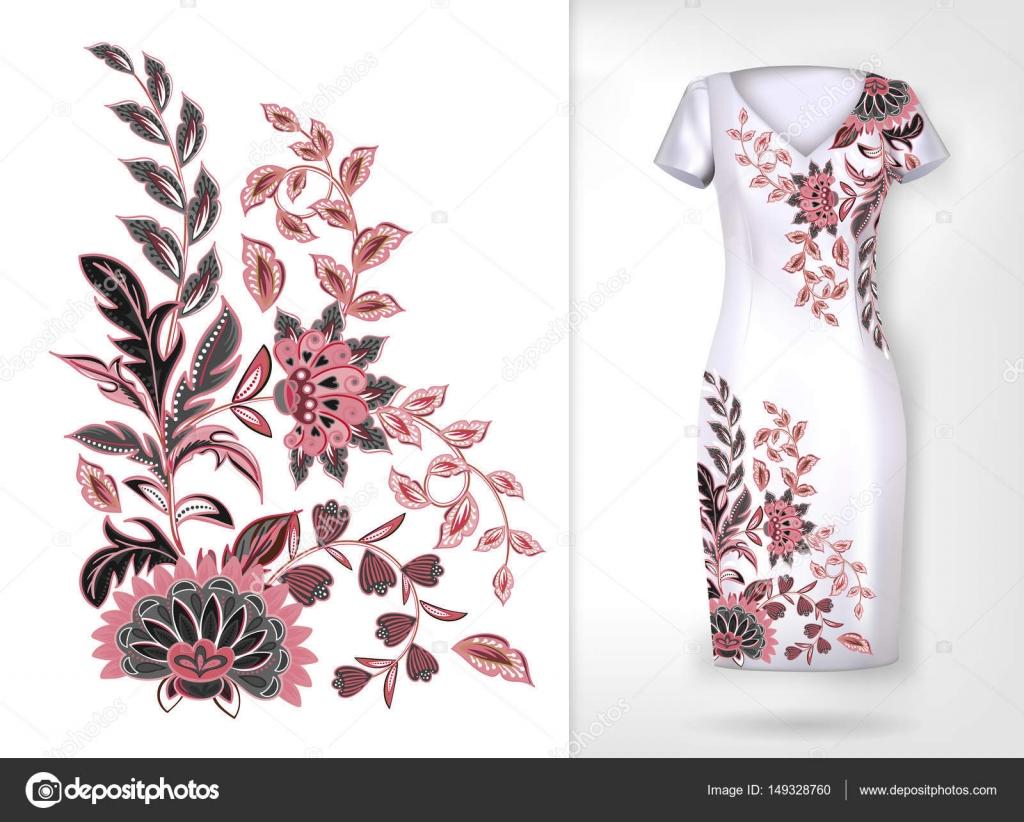 Patron para bordar colores tendencia floral. Vector flowerspattern ...