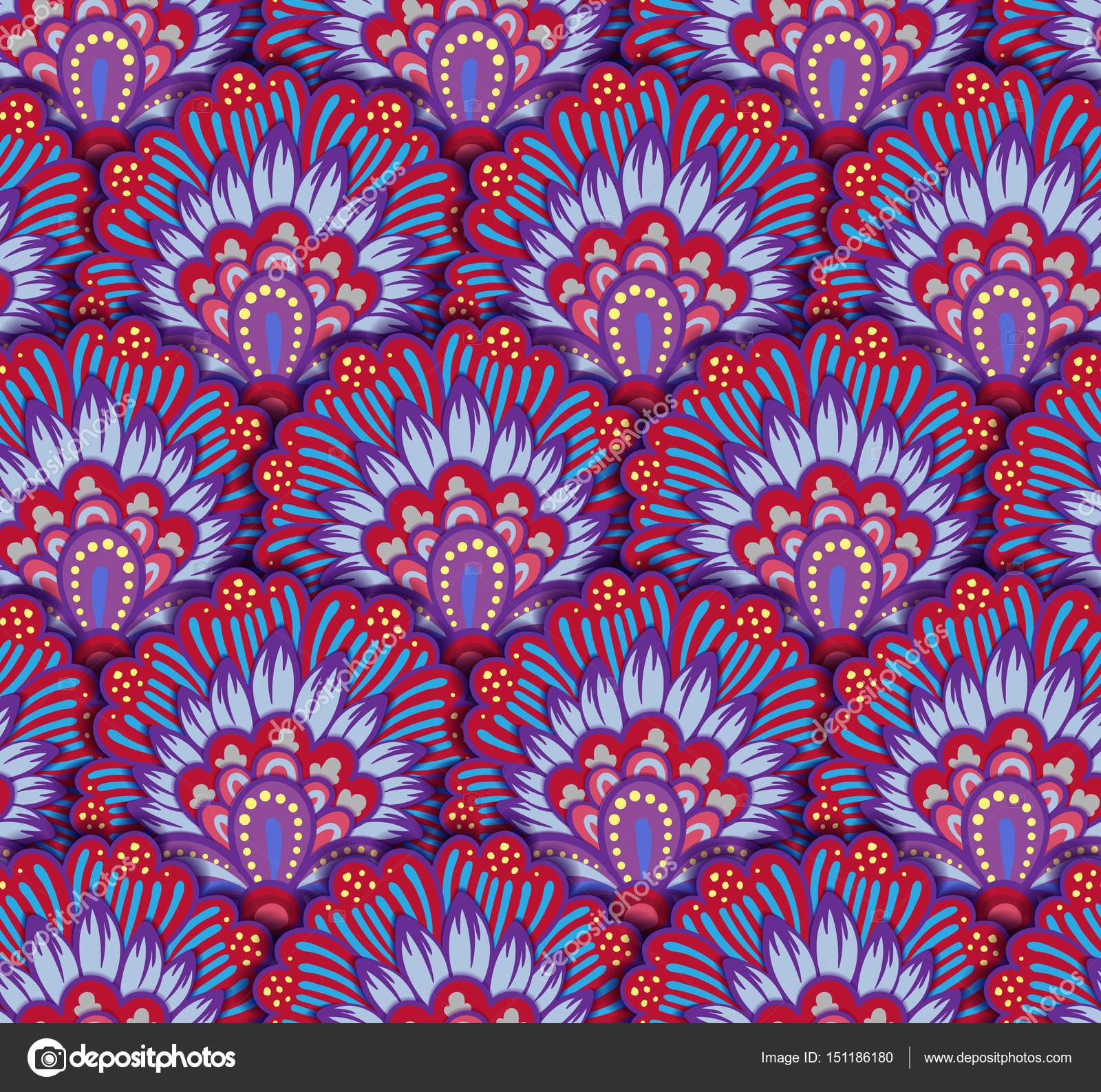 nahtlose ethnische muster mit floralen motiven mandala. Black Bedroom Furniture Sets. Home Design Ideas