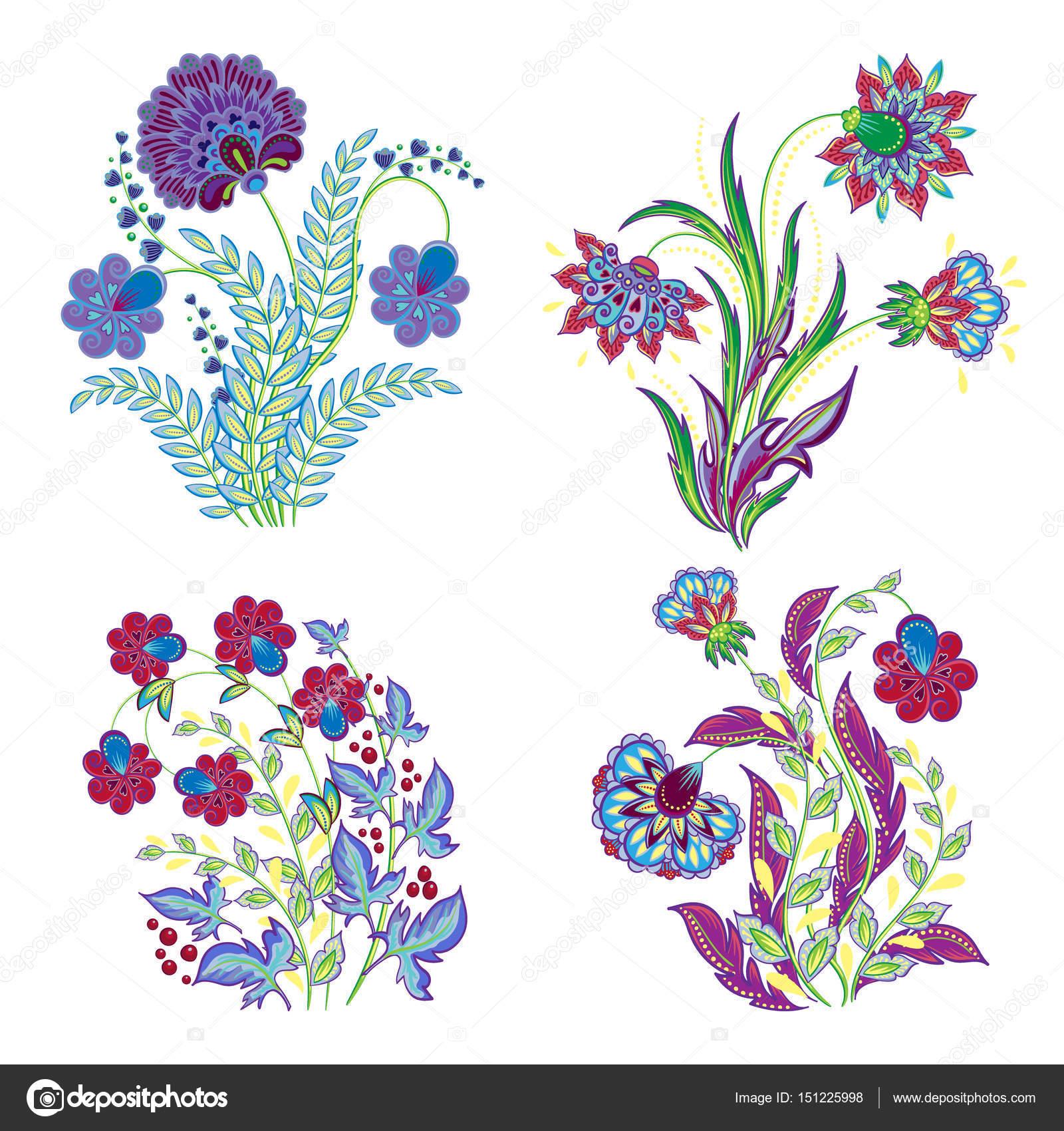 afdc4f7db3591 Vintage costura flores de fantasía bordado sobre fondo blanco. Elementos  decorativos aislados floral bordado hermoso — Vector de ...