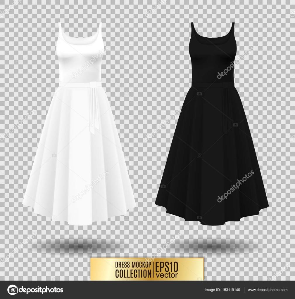 3b807aa1b3 Hosszú Pliszírozott szoknya ruha. Reális vektoros illusztráció. Teljesen  szerkeszthető kézzel készített háló. Ünnepi ruha ujjatlan. Fehér és fekete  variáció ...