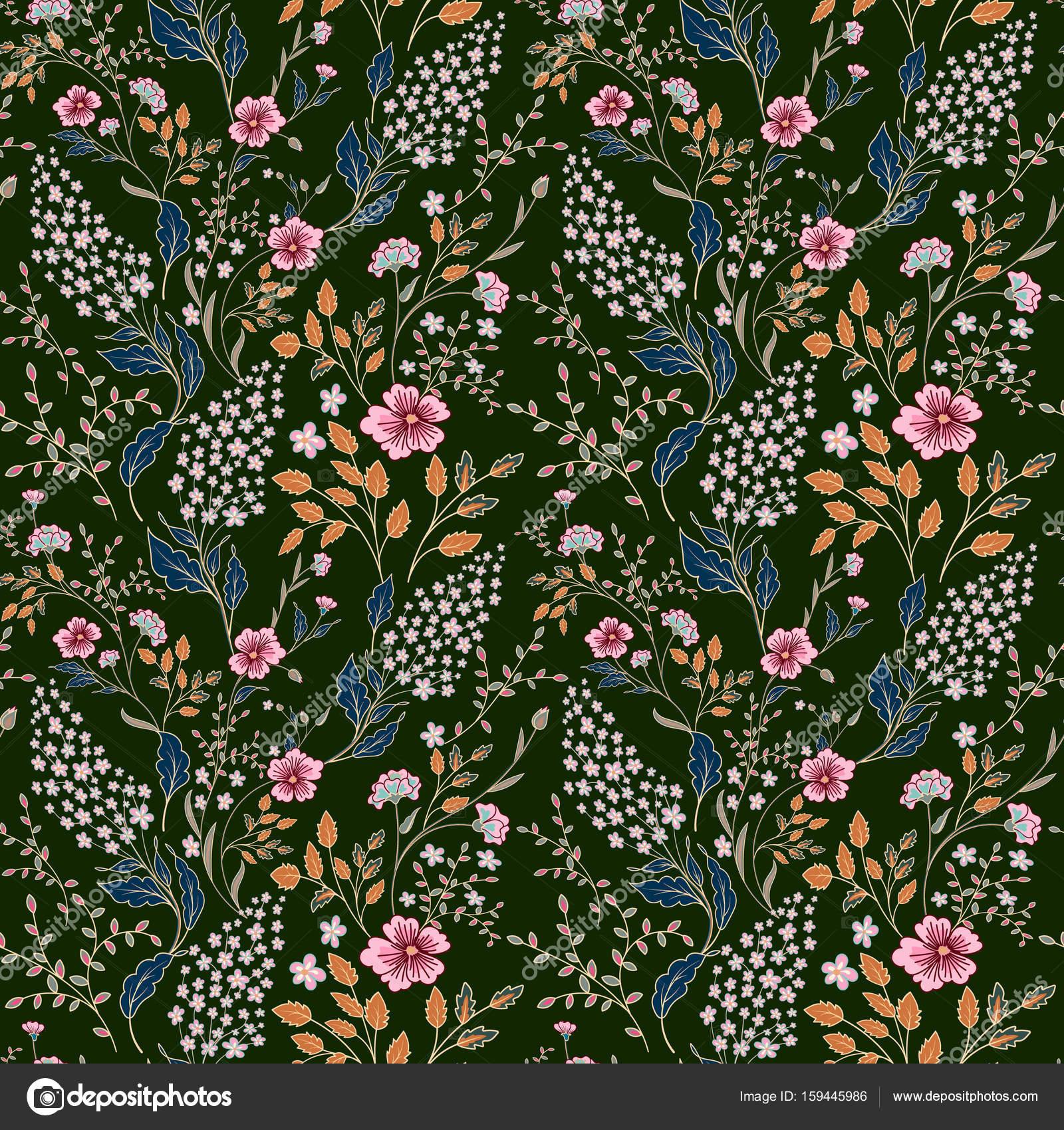 4c930e7a7ce2 Delicada rosa azul laranja branca allover estampa floral em fundo verde  escuro — Vetor de leezarius