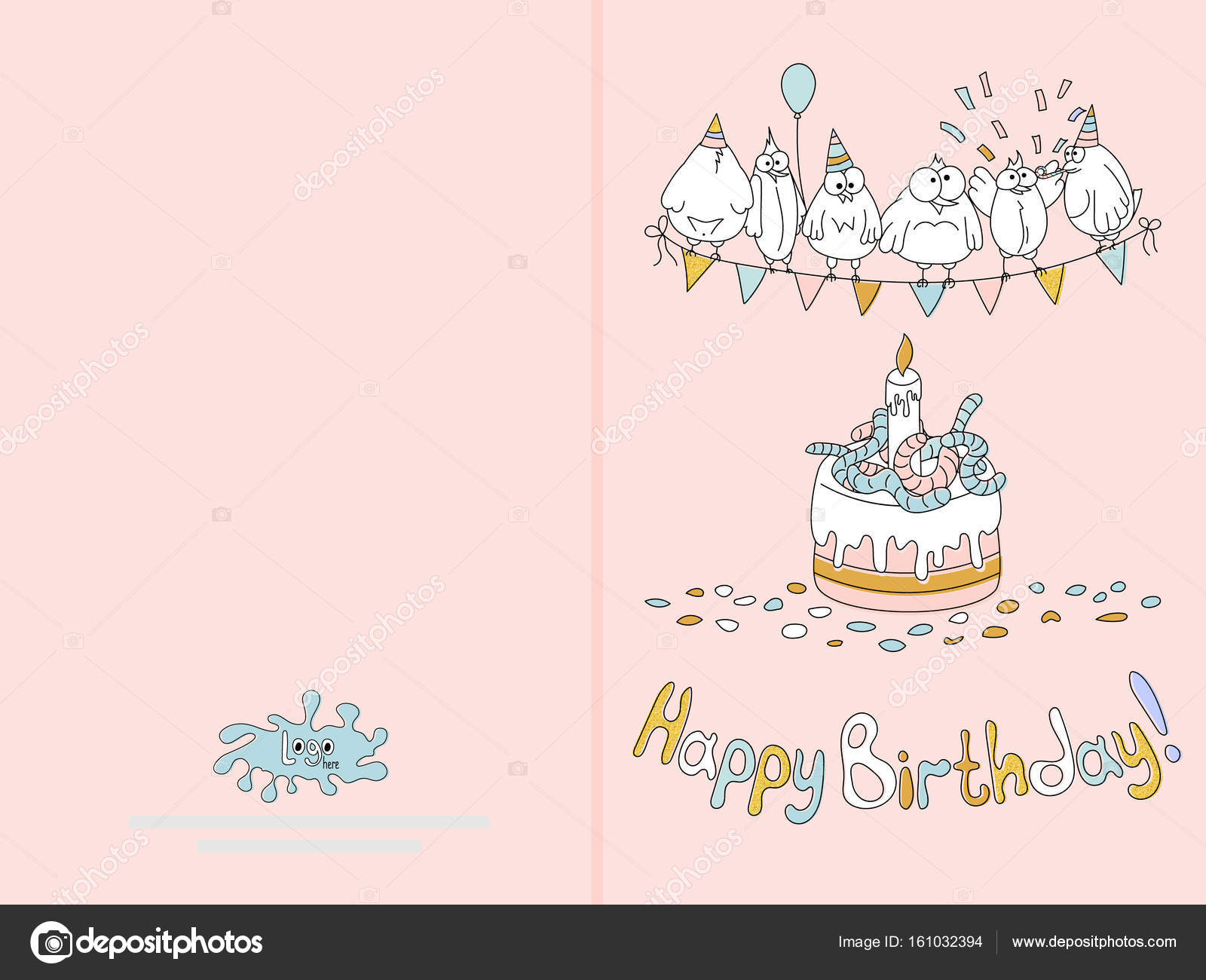 ready for print happy birthday card design with funny birds vector illustration delicate blue