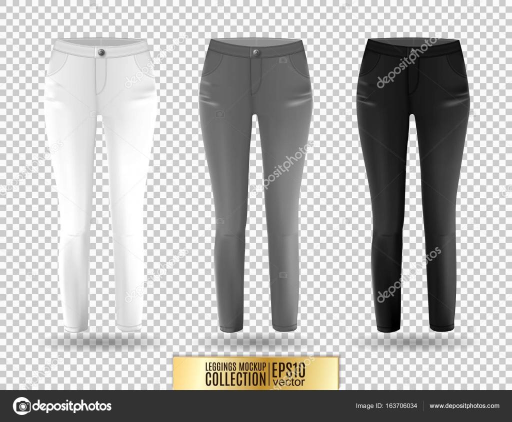 5c8ad92416 Maquete de caneleiras em branco conjunto, branco, cinza e preto sobre fundo  transparente. Modelo de leggins ...