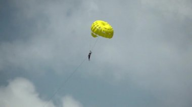 Parachuting in the sky. HD 1080. Slow Motion. Slowmo
