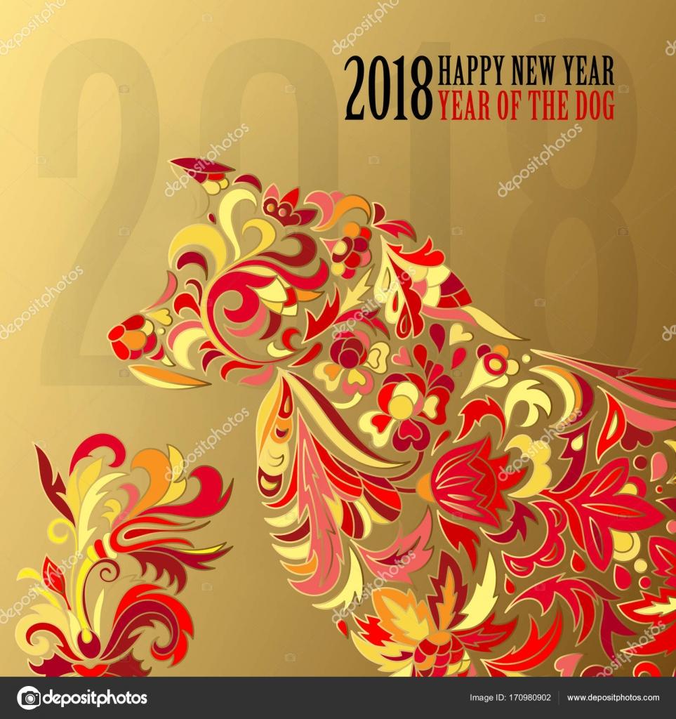 Hund, Symbol für 2018 auf dem chinesischen Kalender. Frohes neues ...