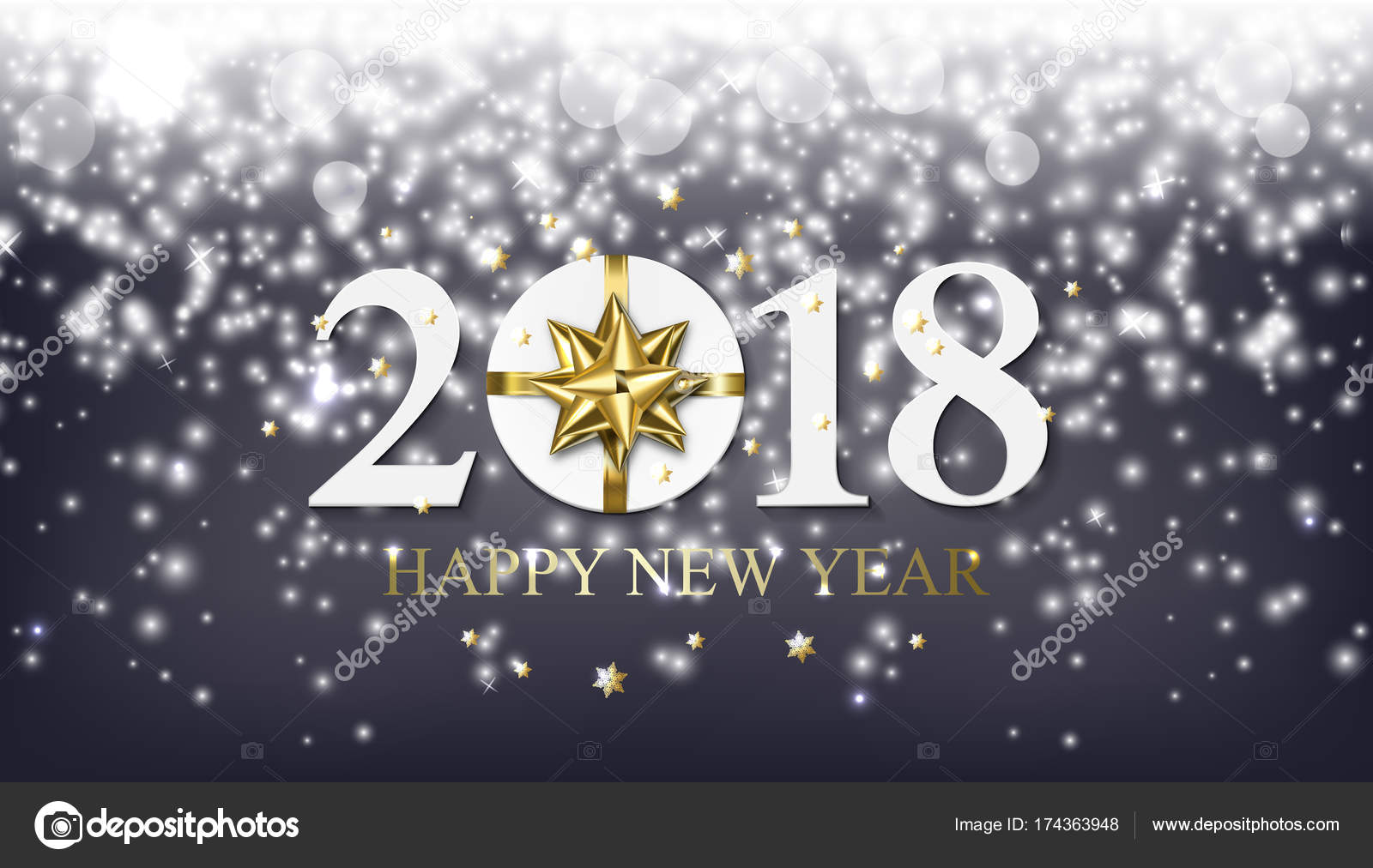 vector 2018 happy new year background with golden gift with bow stock vector