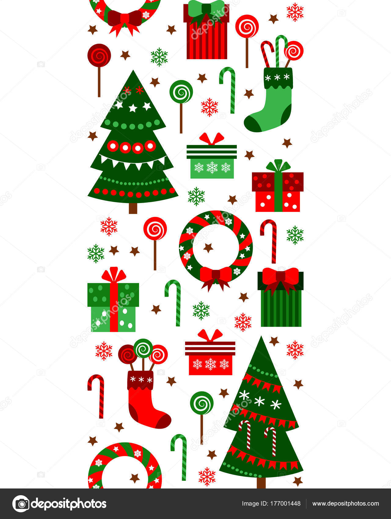 merry christmas and happy new year vertical border ribbon gifts boxes tree