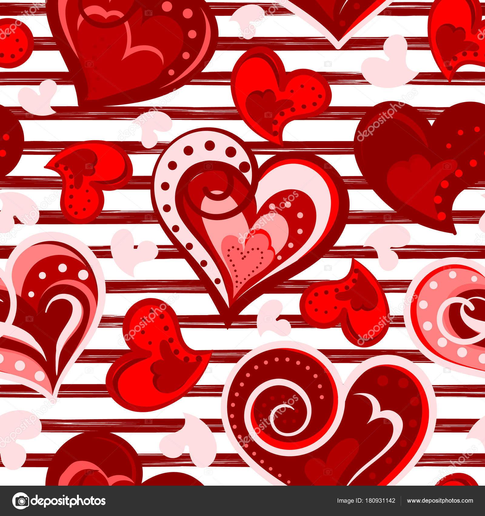 Valentine Herzen nahtlose Hintergrund. Vektor. Hand zu Herzen ...