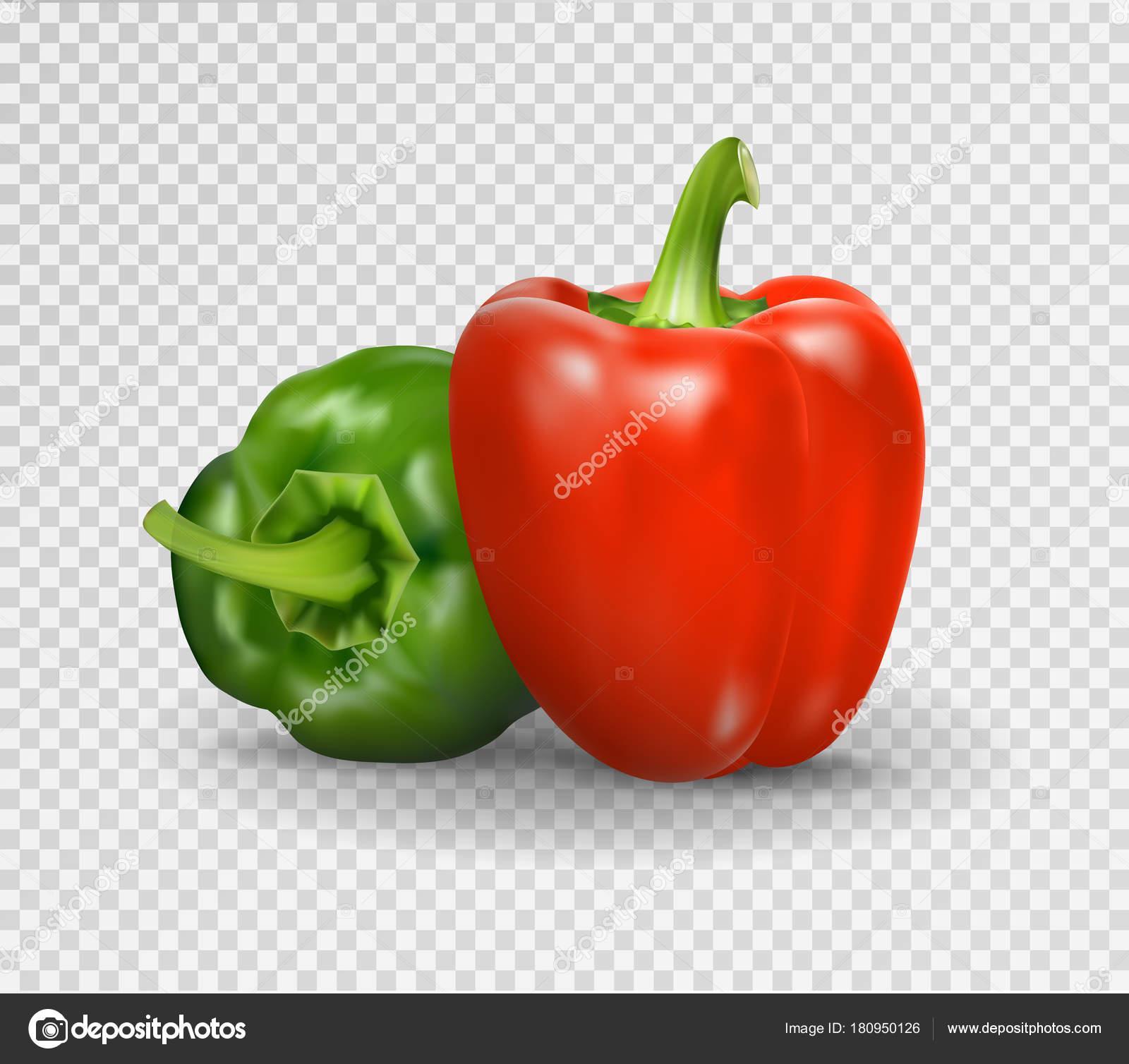 ピーマンのベクトルのリアルなイラスト3 D 野菜赤と透明の背景グリーン