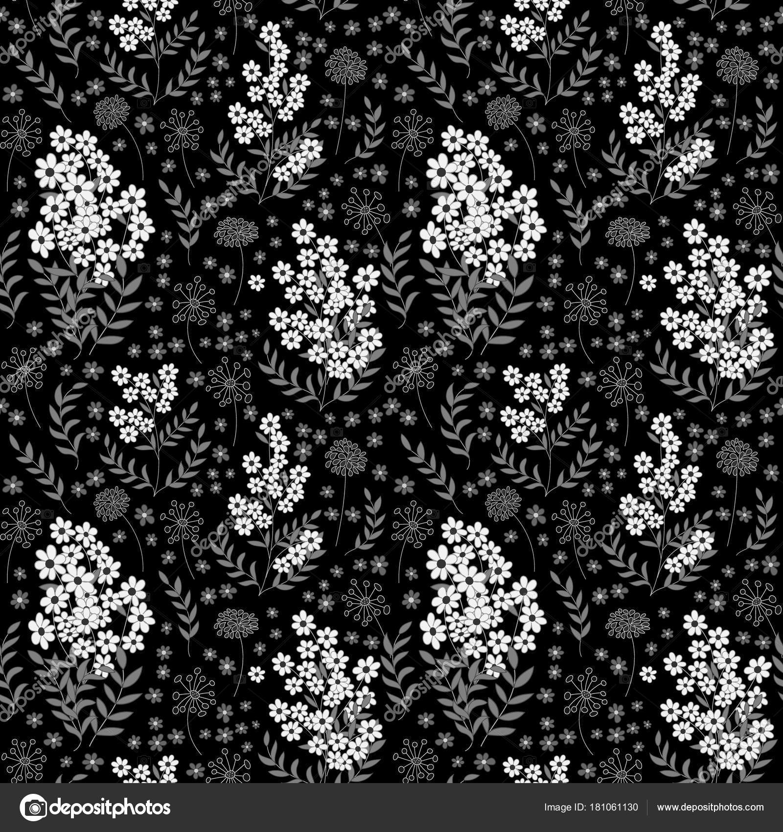 Cute Seamless Pattern In Small Flower Black And White Background
