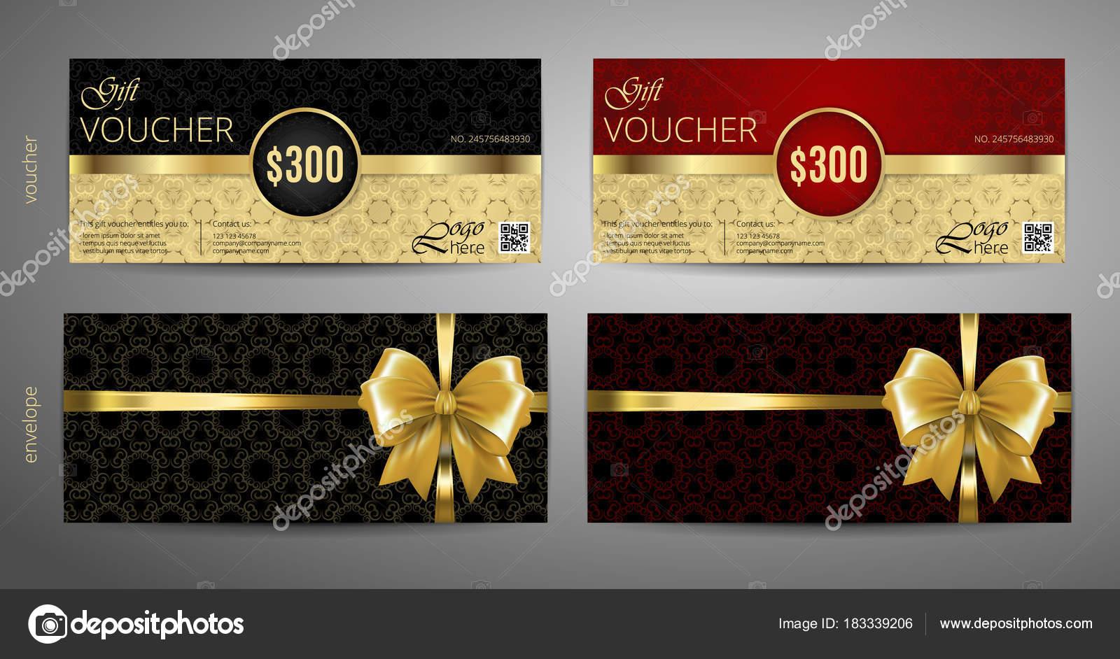 Geschenk-Gutschein setzen. Rot und Gold Gutschein Vorlage mit einem ...