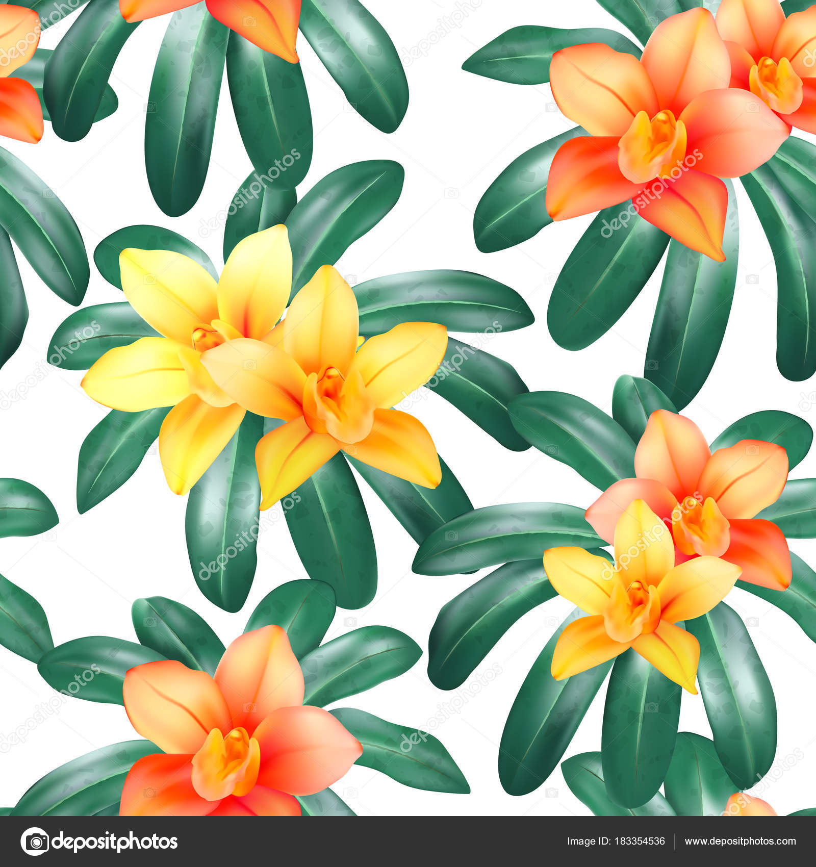 Vector botanical seamless pattern with tropical leaves orchid orchid flowers and butterflies on black background design for cosmetics spa wedding web page best for hawaiian style print wrapping paper vector izmirmasajfo Gallery