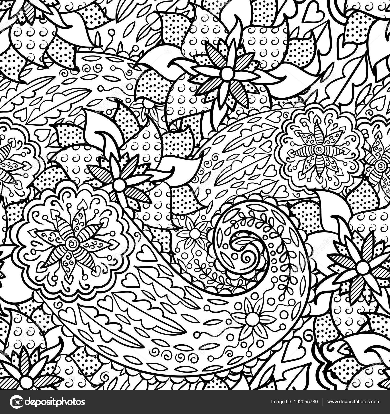Mano dibujada de patrones sin fisuras con hojas y flores. Ornamento ...