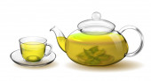 Transparent glass teapot and cup with green tea isolated on white