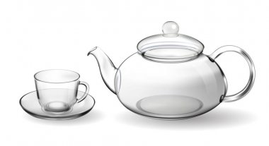 Set empty glass tea cup with teapot isolated on white