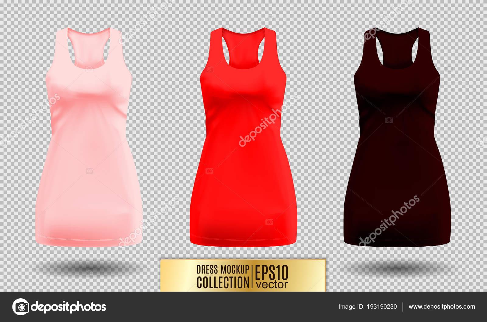 fffd2f2b77d2d6 Vestito di donna 3d dettagliata realistica mock up. Rosa, rosso e scuro  vinoso insieme