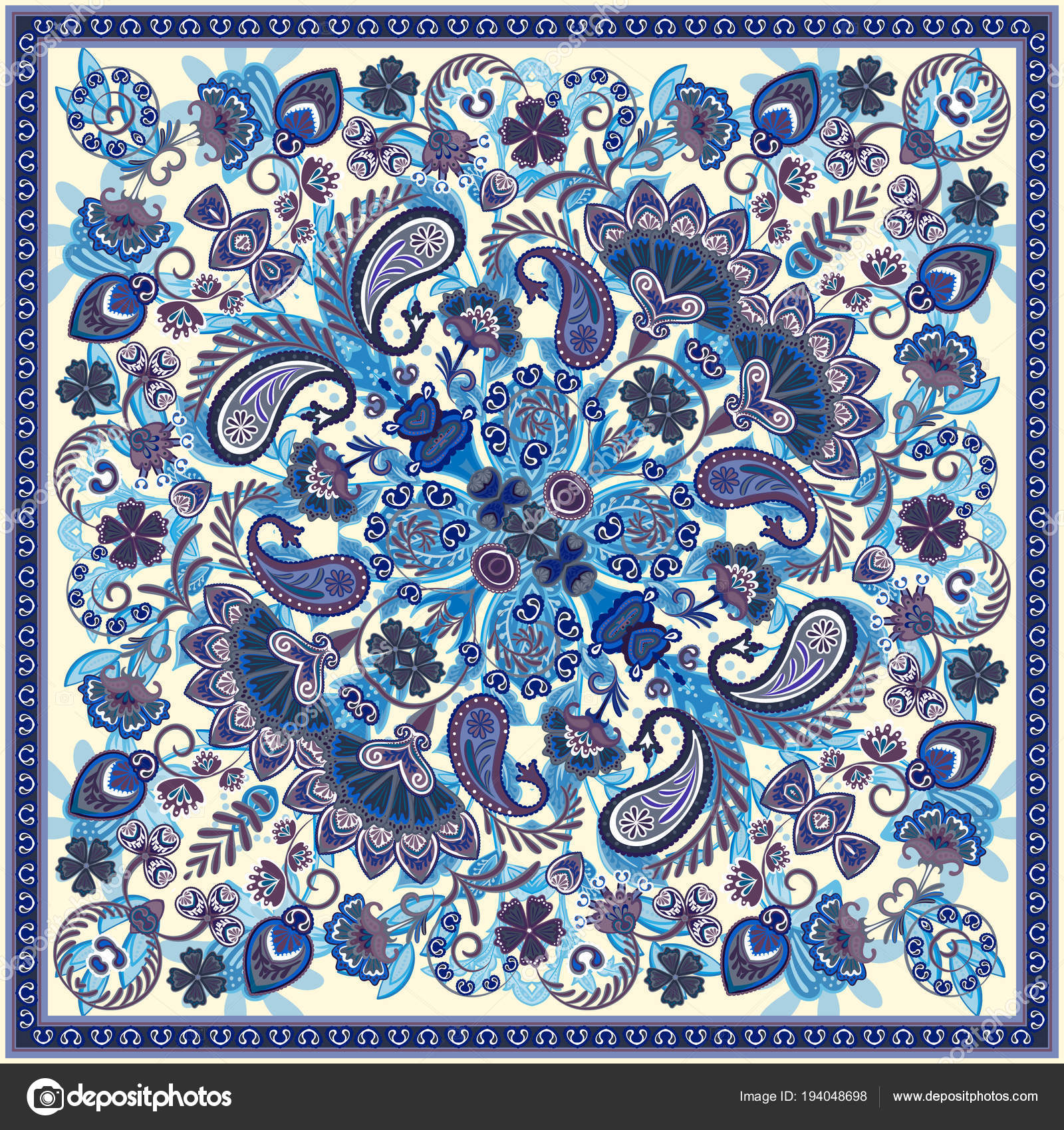 34417a741f Vector ornament paisley bandana print, silk neck scarf or kerchief ...