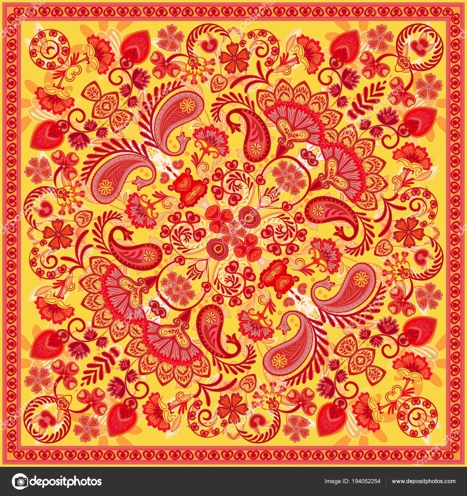 Vector ornement paisley bandana imprimé, Col écharpe ou foulard carré  design style pour l impression sur tissu de soie. Style de paisley bandana. 283dc6b4786